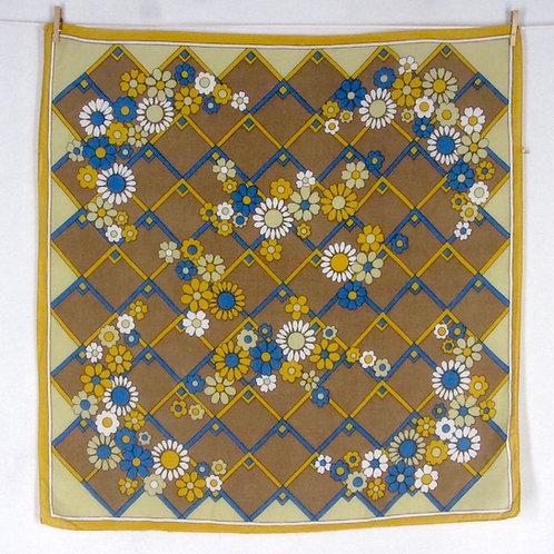 Vintage 70s Mod Print Bandana Scarf Yellow Brown Floral Geometric