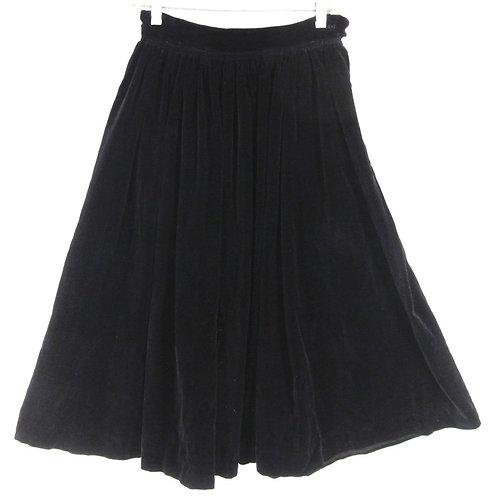 Vintage dark blue full skirt with gathered waist
