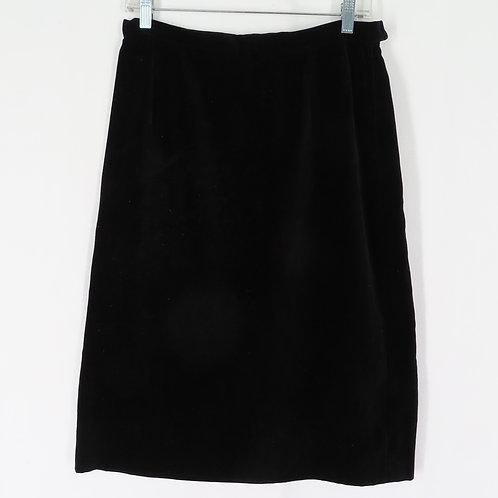 Vintage black velveteen straight skirt