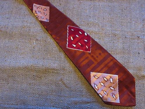 50s Tie Brown Jacquard Mid Century Tie Geometric Motif