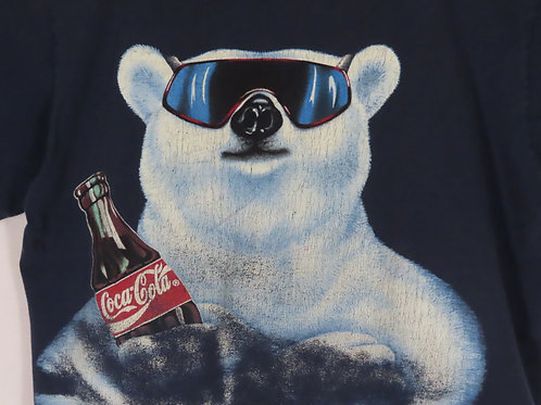Large white Coke polar bear graphic wearing sunglasses and holding a Coca Cola glass bottle