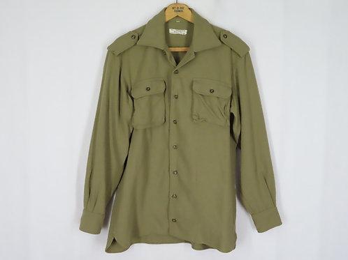 Vintage 70s Italian Military Shirt M L Khaki Wool Long Sleeve