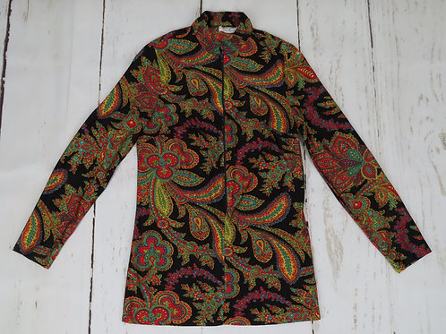 Vintage 70s black paisley nylon jersey tunic with zipper front