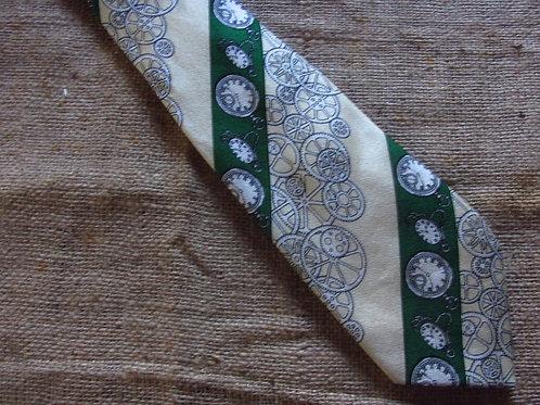Vintage Silk Tie Steampunk Watches Gears Green Yellow Stripes