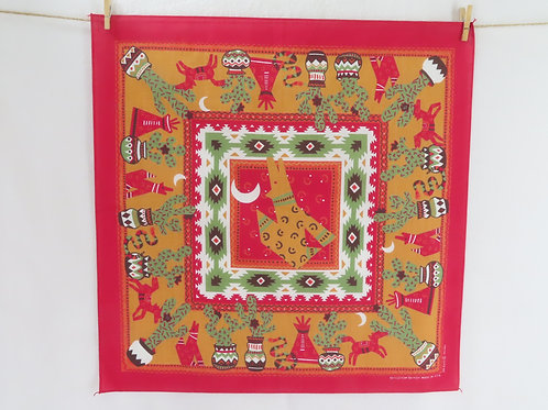 Vintage red bandana with southwest US images-cactus, coyote, teepees