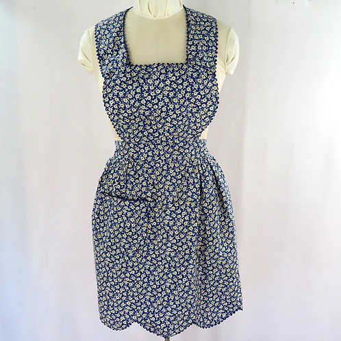 Vintage dark blue print full apron with pinafore style bib front