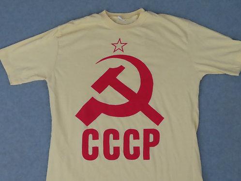Vintage CCCP Hammer Sicle Soviet Union T-Shirt M Yellow Poly Cotton Blend
