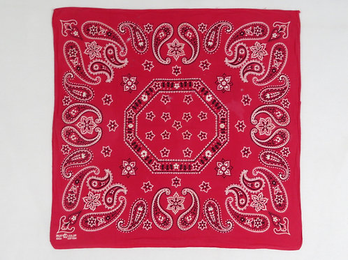 Vintage red bandana with large white and black paisley print