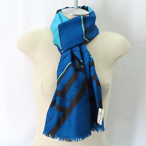 60s Richard Allen Scarf Blue Gray Silk Geometric Print