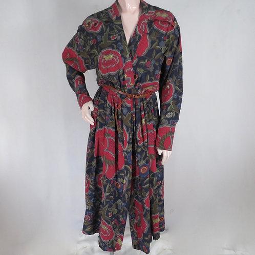 Vintage red floral print silk dress by Chloe