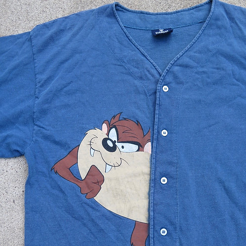 Vintage button up baseball jersey tee with Taz toon character