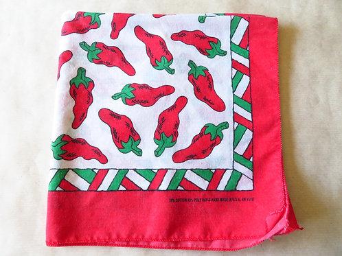 Vintage 90s bandana folded showing corner of chili pepper print