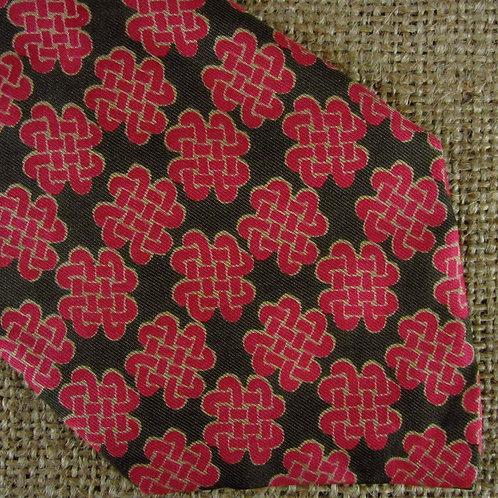 Vintage Hermes Necktie Red Green Celtic Knot Silk Tie AS IS 383 EA