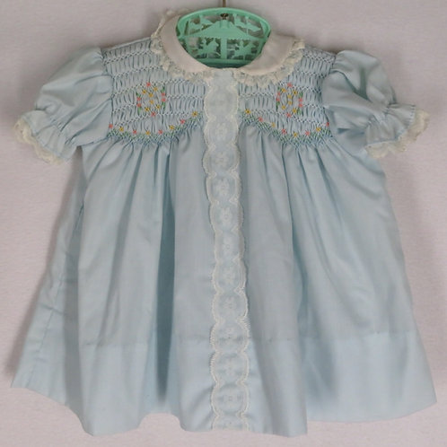 Vintage blue smocked baby dress with white Peter Pan collar