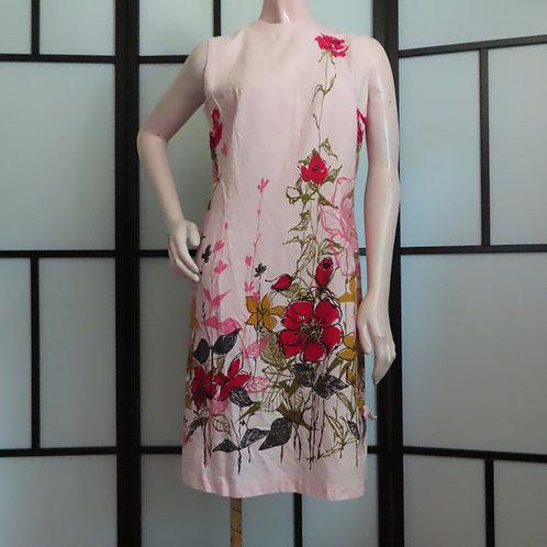 Vintage pink floral print sleeveless shift dress