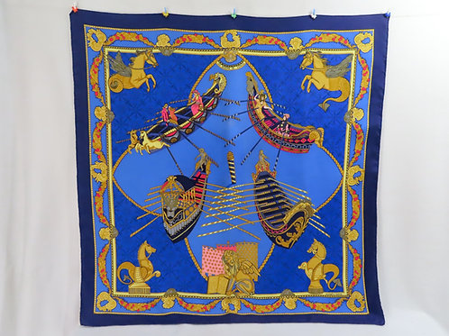 Hermes Scarf Les Bissone De Venise Carre Annie Faivre Blue Silk