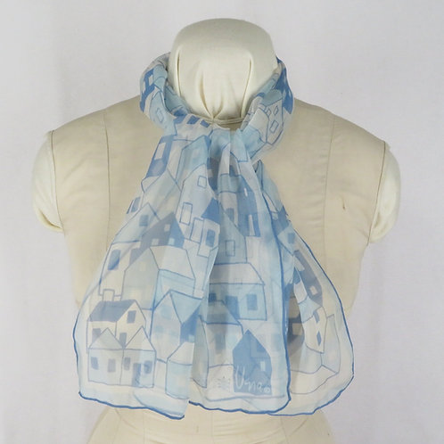 Vera scarf with houses worn on mannequin