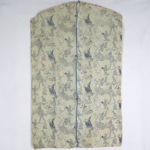 Antique cloth garment bag for a nursery, printed with mother goose characters