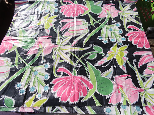Black glazed cotton fabric with floral and butterfly print