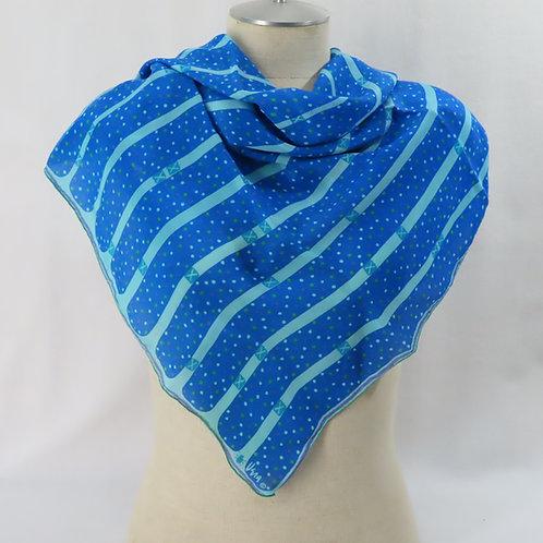 Vintage Vera Blue Silk Scarf Polka Dot Stripes