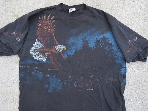 Vintage 90s Flying Eagle Black Tee L USA