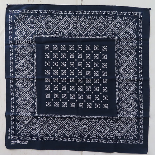 Dark blue bandana with white geometric print