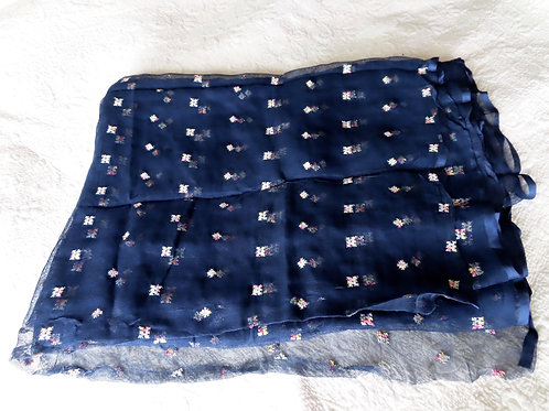 Vintage dark blue rayon mesh fabric with allover embroidered floral motifs