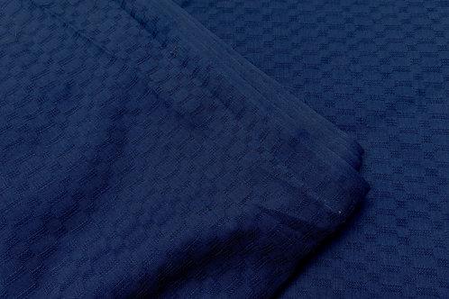 Vintage Solid Dark Blue Woven Textured Cotton Fabric