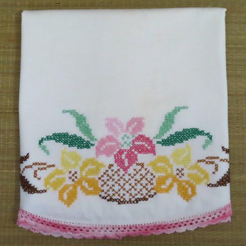 Vintage Embroidered Pillowcase Single Floral Motif White Cotton #229