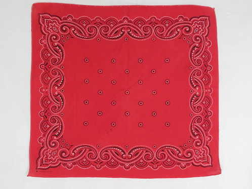 Vintage red bandana with large paisley border print