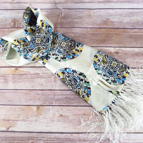 Off white scarf with Chinese dragon print