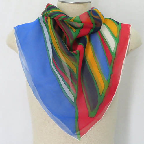 Vintage 70s Abstract Stripe Print Square Scarf