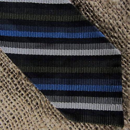 Vintage Skinny Striped Necktie Blue Olive Green Stripes