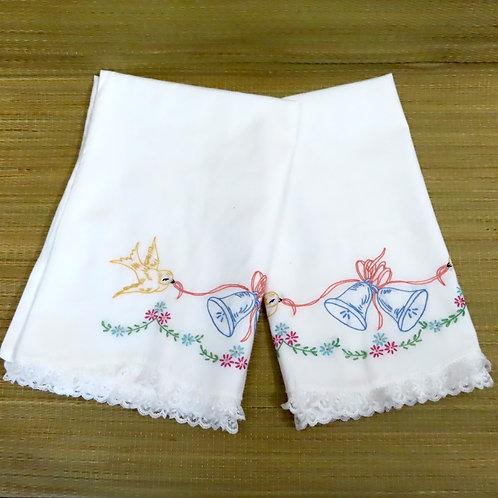 Vintage Embroidered Pillowcase Wedding Bells Birds #82