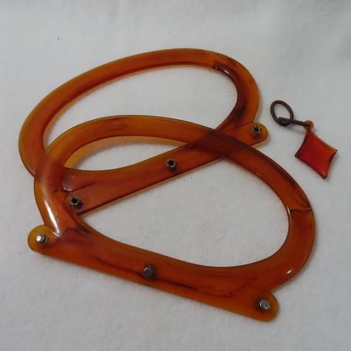 Set of vintage faux tortoiseshell lucite purse handles and dangle
