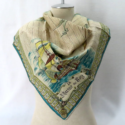 Vintage silk scarf with French navy ship theme