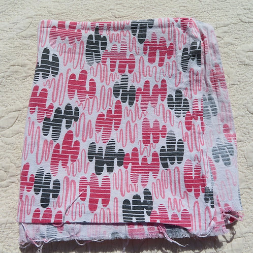 Pink and black feedsack fabric from the 50s