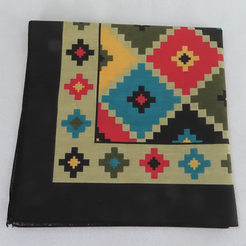 Vintage 90s southwestern print bandana, with deep colors, folded in half