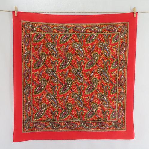red paisley square bandana head scarf