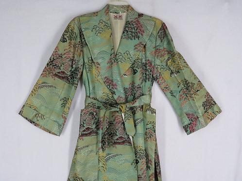 Vintage Green Brocade Japanese Fujibayashi Robe S M