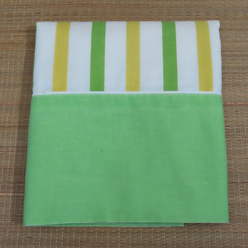 Vintage pillowcase with white, yellow and green stripes & olid green end.
