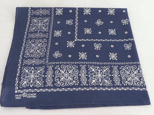 Vintage Blue Elephant Brand Bandana White Geometric Print #261