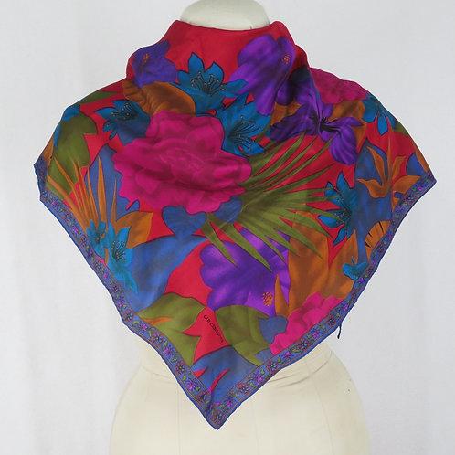 Dark tropical print floral scarf on mannequin
