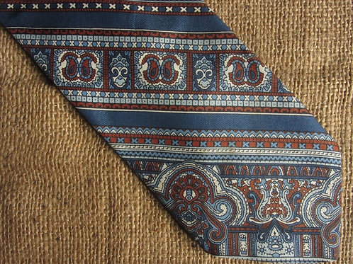 Vintage Lanvin Necktie Blue Silk Necktie Blue Brown Stripes