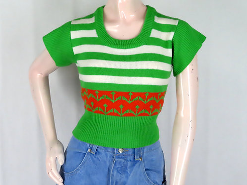 Vintage 70s 80s green striped short sleeve top
