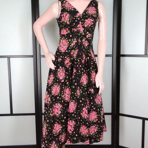 Vintage black sundress with pink flowers