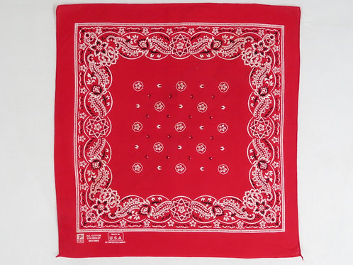 Red and white paisley print bandana from the 1990s
