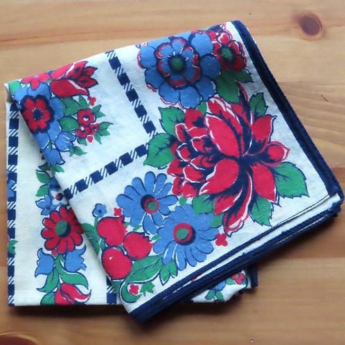 Vintage bandana scarf with white floral print and check pattern