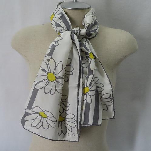 Vintage Echo Silk Daisy Print Scarf White Gray Yellow