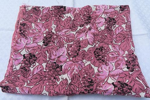 "Vintage 50s Purple Rayon Challis Fabric Grapes & Leaf Print 39"" L x 37"" W"